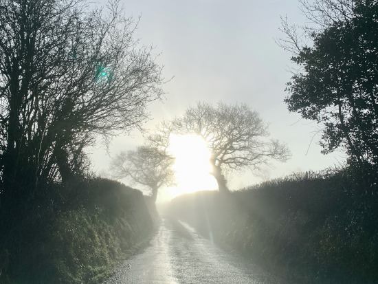 On a bright drive up to the chapel